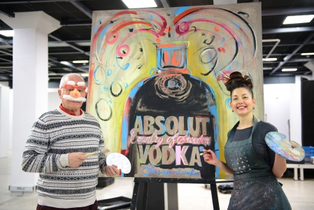 "PAINTING EVENT AT THE EXHIBITION ""ENDIJ VORHOL, KAS TU ESI? ABSOLUT ĢĒNIJS""   (""Who are You, Andy Warhol? Absolut Genius"")"